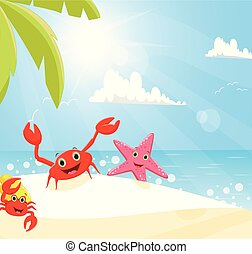 illustration of funny crab and starfish on the beach