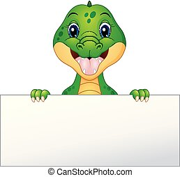 Funny crocodile cartoon holding blank sign