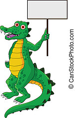 funny crocodile with blank sign