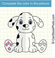 Funny dalmatian dog. Complete the picture children drawing game