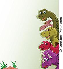 funny dinosaur cartoon set