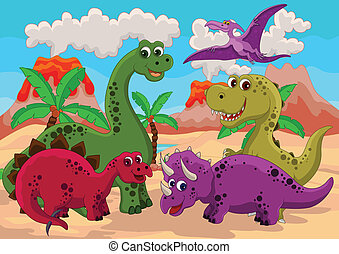 funny dinosaur cartoon - vector illustration of funny ...
