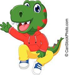 funny dinosaur cartoon waving
