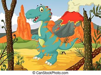 funny dinosaur cartoon with forest