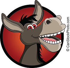 funny donkey head cartoon - vector illustration of funny...