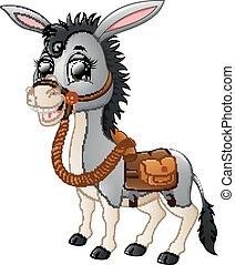 Funny donkey smiling with a saddle