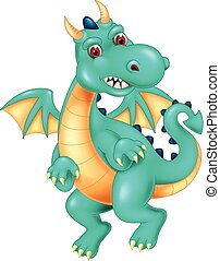 funny dragon cartoon flying with laughing and waving