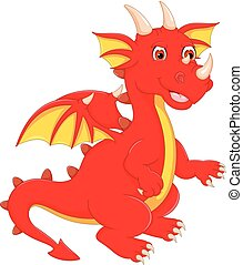 funny dragon cartoon posing with smile and waving