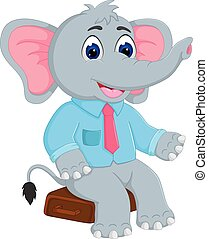 funny elephant cartoon sitting with smile and waving