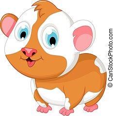 funny fat hamster cartoon posing - vector illustration of...