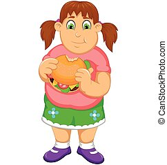 funny fat woman cartoon eating burger