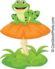 Funny frog cartoon sitting on mushr - Vector illustration of...