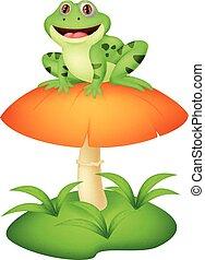 Funny frog cartoon sitting on mushr