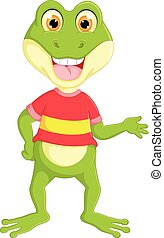 funny frog cartoon standing with smile and waving