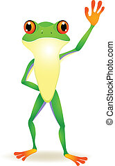 Funny frog cartoon with hand waving