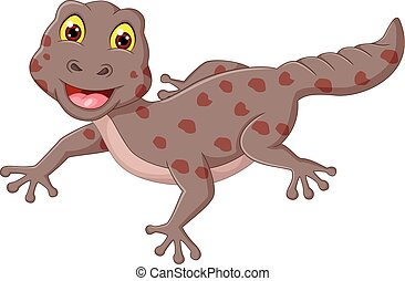 funny gecko cartoon posing with laughing