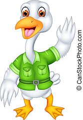 funny geese cartoon standing with smile and waving