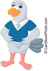 funny geese cartoon standing with smile