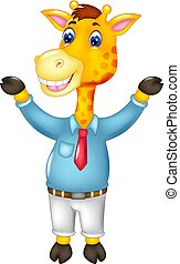 funny giraffe cartoon standing with smile and waving