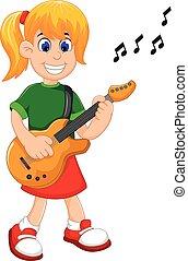 funny girl cartoon playing guitar