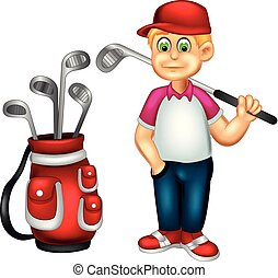 funny golfer cartoon standing bring stick with smiling - ...