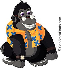 funny gorilla cartoon sitting with smiling