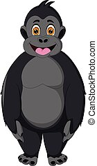 funny gorilla cartoon standing with smiling