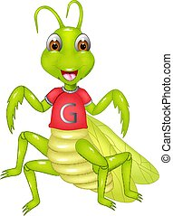 funny grasshopper cartoon posing with smiling and waving