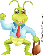 funny grasshopper cartoon standing bring bag with smile and waving