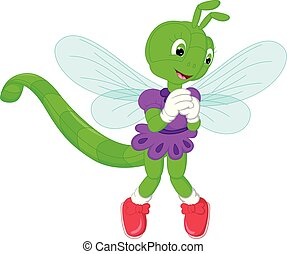 funny green dragonflies cartoon standing with smiling