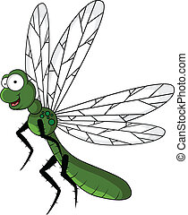 funny green dragonfly cartoon - vector illustration of funny...
