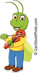funny green grasshopper cartoon playing violin