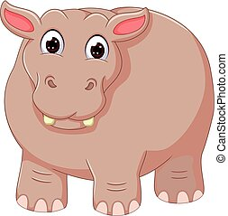 funny hippo cartoon standing with laughing