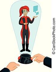funny hologram cartoon - vector illustration of funny...