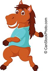 funny horse cartoon dancing with laughing