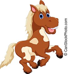 funny horse cartoon jumping - vector illustration of funny...