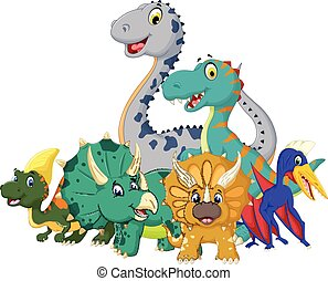 funny jurassic animal cartoon - vector illustration of funny...