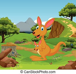 funny kangaroo in the jungle