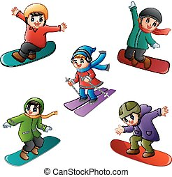 Funny kids play winter sports - Vector illustration of Funny...