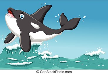 funny killer whale jumping on sea