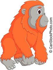 funny kingkong cartoon standiing with smiling