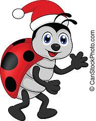 funny lady bug cartoon xmas