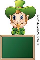 Funny Leprechaun cartoon with chalkboard sign