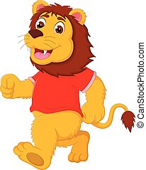 funny lion cartoon running with laughing