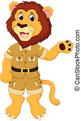 funny lion cartoon standing with smile and waving