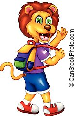 funny lion cartoon walking with smile and waving