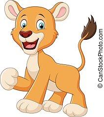 Funny lion cartoon waving