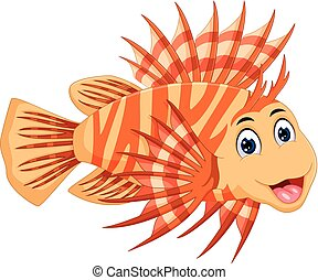 funny lionfish cartoon posing with laughing