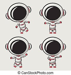 Funny little astronaut isolated on white background