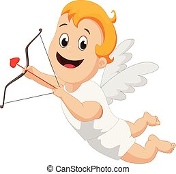 Funny little cupid with bow and arrow